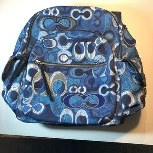 NWT POP Coach Denim Blue. White & Silver Backpack